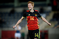 20170411 - LEUVEN ,  BELGIUM : Belgian Lien Mermas pictured celebrating her goal and the Belgian 2-0 lead during the friendly female soccer game between the Belgian Red Flames and Scotland , a friendly game in the preparation for the European Championship in The Netherlands 2017  , Tuesday 11 th April 2017 at Stadion Den Dreef  in Leuven , Belgium. PHOTO SPORTPIX.BE | DAVID CATRY