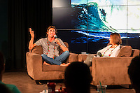 North Shore, Oahu, Hawaii (Wednesday, December 4, 2013) – Big wave rider and defending Quiksilver Eddie Aikau Big Wave Invitational champion was the Talk Story guest at Surfer The Bar at Turtle Bay Resort tonight. Long was interviewed by host Jodi Wilmott (AUS) . Photo: joliphotos.com