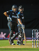 NZ batsmen Ross Taylor (left) and Kane Williamson during the ICC Cricket World Cup one day pool match between the New Zealand Black Caps and England at Wellington Regional Stadium, Wellington, New Zealand on Friday, 20 February 2015. Photo: Dave Lintott / lintottphoto.co.nz
