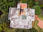 Woodside's use as a two residences is more obvious from this image of the roof captured by a drone.