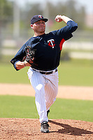 Minnesota Twins minor league pitcher Matt Tone (53) delivers a pitch during a game vs. the Boston Red Sox in an Instructional League game at Lee County Sports Complex in Fort Myers, Florida;  October 2, 2010.  Photo By Mike Janes/Four Seam Images