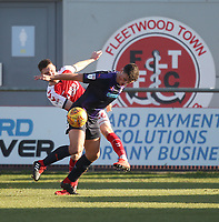 Fleetwood Town's James Husband battles with Luton Town's James Collins<br /> <br /> Photographer Mick Walker/CameraSport<br /> <br /> The EFL Sky Bet League One - Fleetwood Town v Luton Town - Saturday 16th February 2019 - Highbury Stadium - Fleetwood<br /> <br /> World Copyright © 2019 CameraSport. All rights reserved. 43 Linden Ave. Countesthorpe. Leicester. England. LE8 5PG - Tel: +44 (0) 116 277 4147 - admin@camerasport.com - www.camerasport.com
