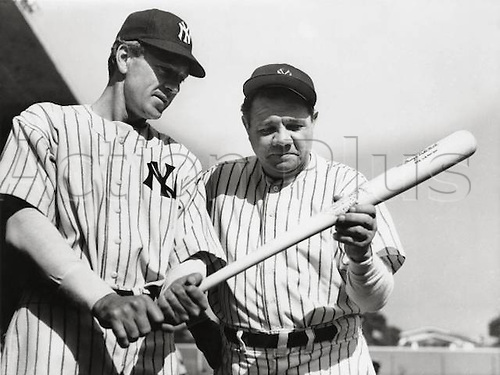 1942, New York, USA. Gary Cooper and Babe Ruth, The Pride of the Yankees 1942