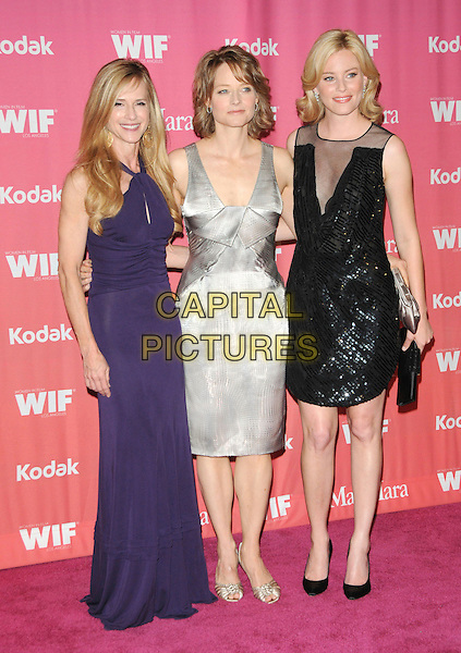 HOLLY HUNTER, JODIE FOSTER & ELIZABETH BANKS  .at The Women in Film 2009 Crystal .and Lucy Awards held at The Hyatt Regency Century Plaza in Century City, California, USA, June 12th 2009                                                                     .full length dress long maxi purple cut out halterneck  grey gray silver clutch bag shoes gold black beaded sequined mesh .CAP/DVS.©DVS/RockinExposures/Capital Pictures