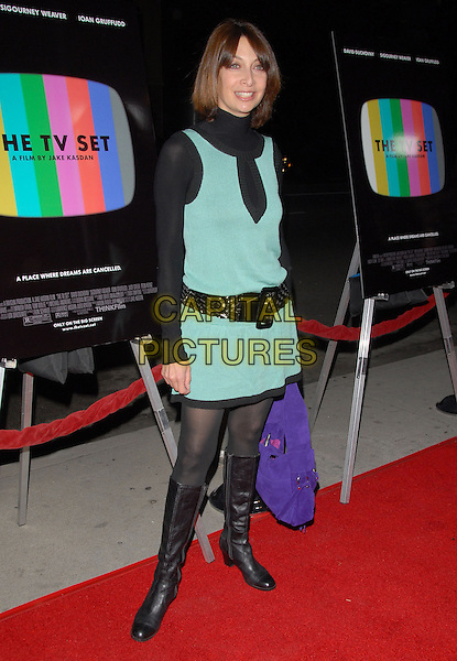 "ILLEANA DOUGLAS.Attends The Think Films'  L.A. Premiere of ""The TV Set"" held at The Crest Theatre in Westwood, California, USA. .March 27th, 2007.full length black boots belt green turquoise shift dress.CAP/DVS.©Debbie VanStory/Capital Pictures"