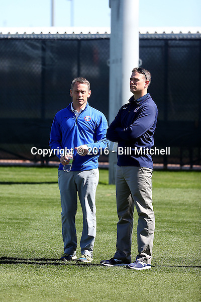 Jed Hoyer, general manager (left0, Theo Epstein, president (right) - Chicago Cubs 2016 spring training (Bill Mitchell)