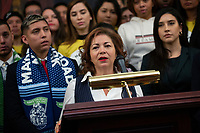 United States Representative Linda Sanchez (Democrat of California), joined by other Democratic lawmakers, speaks during a press conference on the Deferred Action for Childhood Arrivals program on Capitol Hill in Washington D.C., U.S. on Tuesday, November 12, 2019.  The Supreme Court is currently hearing a case that will determine the legality and future of the DACA program.  <br /> <br /> Credit: Stefani Reynolds / CNP /MediaPunch