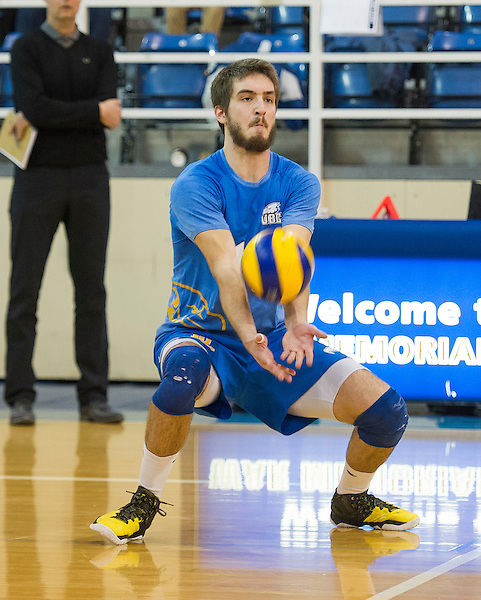 January 16, 2016:  Action during a men's volleyball game between the University of British Columbia Thunderbirds and the Brandon University Bobcats at War Memorial Gymnasium, University of British Columbia, Vancouver, BC, Canada.<br /> <br /> ****(Photo by Rich Lam/UBC Thunderbirds 2016 All Rights Reserved****