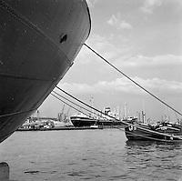 Augustus 1966. Schepen in de Haven van Antwerpen. Onder andere de Jaladharna uit Bombay en binnenschepen Odilia en Marc.