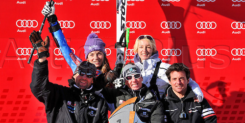 13.01.2013. St Anton, Austria.  Ski Alpine FIS World Cup Super G for women Award Ceremony Picture shows the cheering the Slovenian Team with Tina Maze SLO