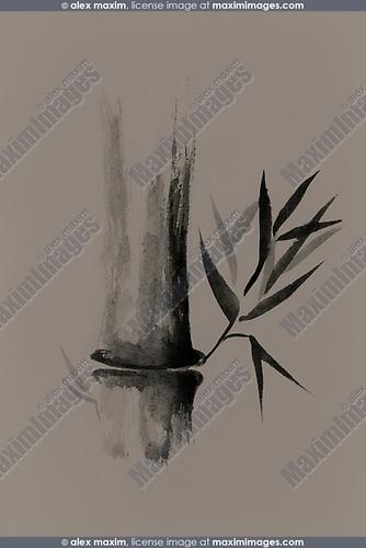 Bamboo Stalk Sumi E Oriental Zen Painting Design On Beige