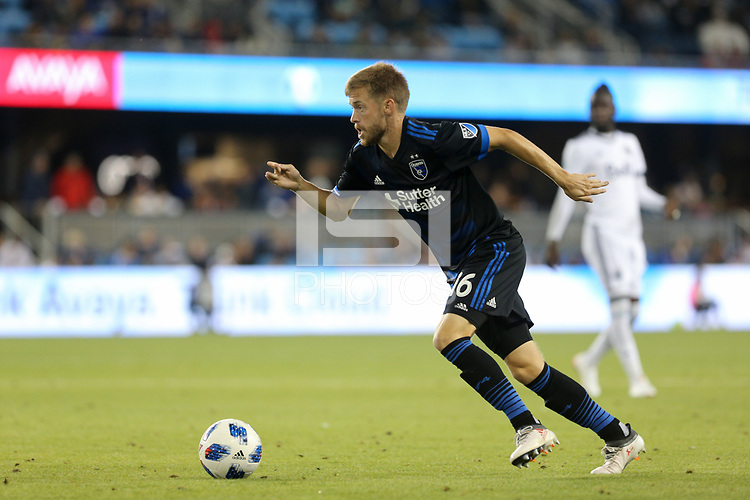 San Jose, CA - Saturday August 25, 2018: Chris Wehan during a Major League Soccer (MLS) match between the San Jose Earthquakes and Vancouver Whitecaps FC at Avaya Stadium.