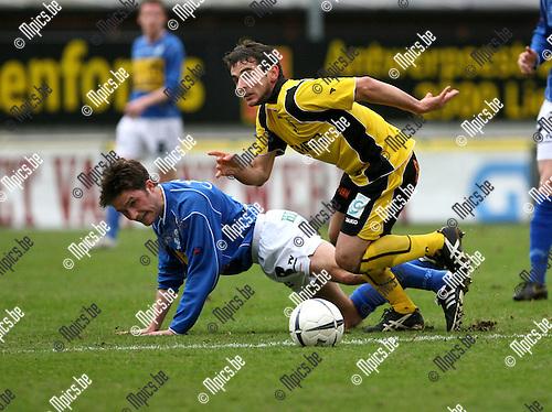 2008-01-20 / Voetbal / SK Lierse - Verbroedering Geel / .Jan Gielen (L) met Ernandes Bueno De Castro van Lierse..Foto: Maarten Straetemans (SMB)