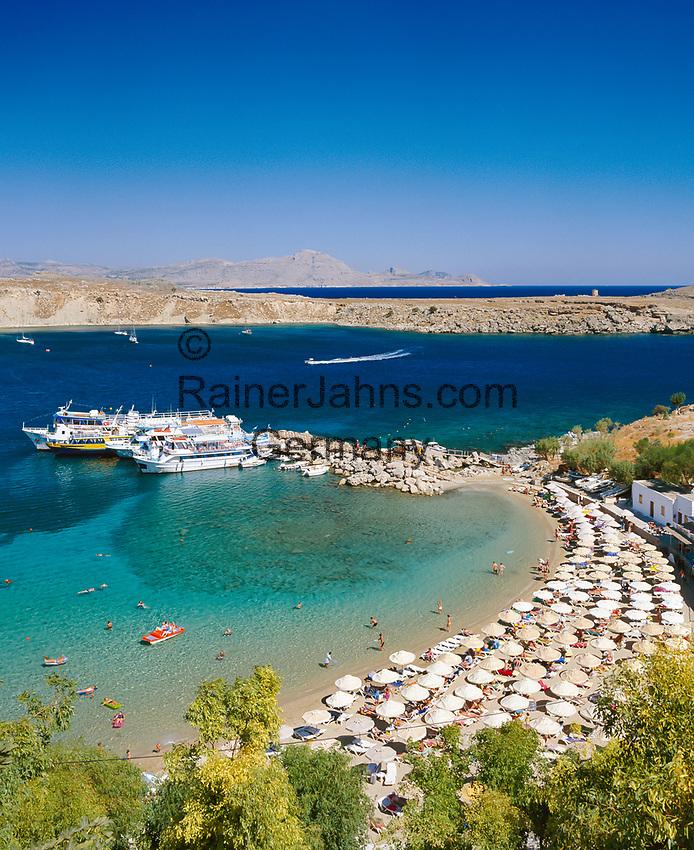 Griechenland, Dodekanes, Rhodos, Lindos: Bucht und Strand | Greece, Dodekanes, Rhodes, Lindos: Bay and Beach