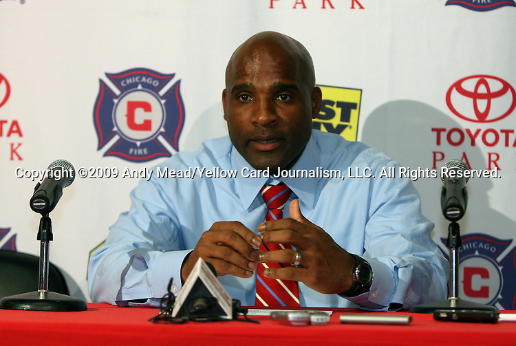 05 June 2009: Chicago head coach Denis Hamlett at the postgame press conference. The Houston Dynamo defeated the Chicago Fire 1-0 at Toyota Park in Bridgeview, Illinois in a regular season Major League Soccer game.