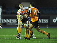 Toyota Cheetahs&rsquo; Rynier Bernardo is tackled by Cardiff Blues&rsquo; Seb Davies<br /> <br /> Photographer Kevin Barnes/CameraSport<br /> <br /> Guinness Pro14  Round 14 - Cardiff Blues v Toyota Cheetahs - Saturday 10th February 2018 - Cardiff Arms Park - Cardiff<br /> <br /> World Copyright &copy; 2018 CameraSport. All rights reserved. 43 Linden Ave. Countesthorpe. Leicester. England. LE8 5PG - Tel: +44 (0) 116 277 4147 - admin@camerasport.com - www.camerasport.com