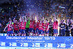 09.06.2019, ISS Dome, Duesseldorf,  GER, 1. HBL. Herren, BHC vs. SG Flensburg Handewitt, <br /> <br /> im Bild / picture shows: <br /> nach der Siegerehrung feiern die Flensburger Spieler den Sieg und die Meisterschaft in der 1. HBL mit Sektdusche, Jubel, Freude<br /> <br /> <br /> Foto © nordphoto / Meuter