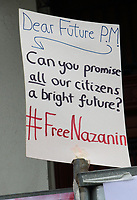 Husband of imprisoned Iranian-British national Nazanin Zaghari-Ratcliffe, Richard Ratcliffe, now on the 11th day of a hunger strike outside the Iranian Embassy in London. He is acting in solidarity with his wife, who is also refusing to eat in protest at her own unfair imprisonment in Iran on spying charges. June 25th 2019<br /> <br /> Photo by Keith Mayhew