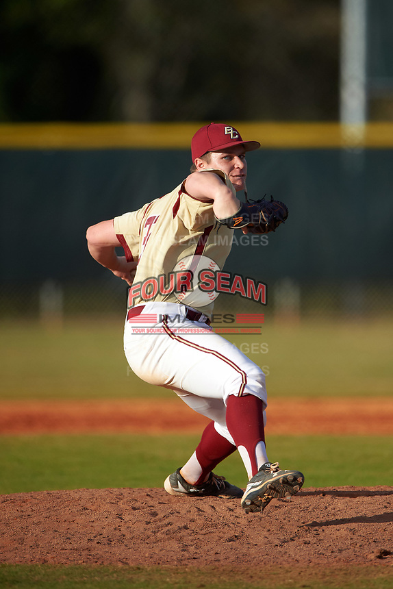 Boston College Eagles relief pitcher Kevin Connor (32) delivers a pitch during a game against the Central Michigan Chippewas on March 8, 2016 at North Charlotte Regional Park in Port Charlotte, Florida.  Boston College defeated Central Michigan 9-3.  (Mike Janes/Four Seam Images)