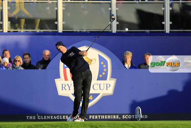 Jim Furyk (USA) tees off the 1st tee to start his match during Saturday Mornings Fourball Matches between Europe's Lee Westwood and Jamie Donaldson and USA's Hunter Mahan and Jim Furyk of the Ryder Cup 2014 played on the PGA Centenary Course at the Gleneagles Hotel, Auchterarder, Scotland.: Picture Eoin Clarke, www.golffile.ie : 27th September 2014