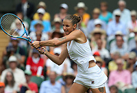 Karolina Pliskova (CZE) during her match against Victoria Azarenka (BLR)<br /> <br /> Photographer Rob Newell/CameraSport<br /> <br /> Wimbledon Lawn Tennis Championships - Day 3 - Wednesday 4th July 2018 -  All England Lawn Tennis and Croquet Club - Wimbledon - London - England<br /> <br /> World Copyright &not;&uml;&not;&copy; 2017 CameraSport. All rights reserved. 43 Linden Ave. Countesthorpe. Leicester. England. LE8 5PG - Tel: +44 (0) 116 277 4147 - admin@camerasport.com - www.camerasport.com