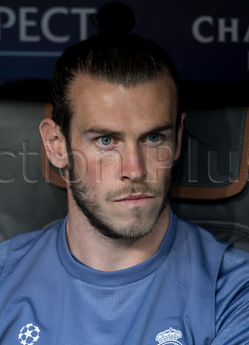 April 11th 2017, Munich, Germany;  Real Madrid's Gareth Bale at a training session in the Allianz Arena in Munich, Germany. The reigning champions from Spain will face German Bundesliga club Bayern Munich for the first leg of a Champions League quarter final in Munich on the 12 April 2017.