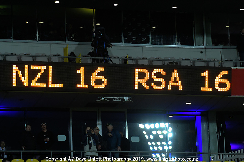The final score of 16-all during the Rugby Championship rugby union match between the New Zealand All Blacks and South Africa Springboks at Westpac Stadium in Wellington, New Zealand on Saturday, 27 July 2019. Photo: Dave Lintott / lintottphoto.co.nz