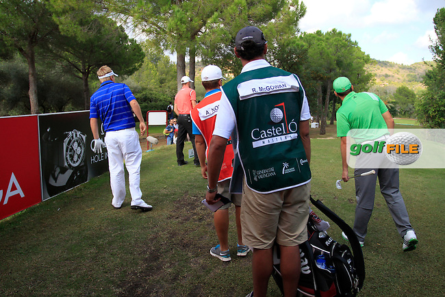 Ross McGowan (ENG), Alexander Noren (SWE) and Sergio Garcia (ESP) watch Alex's ball on the par3 16th tee during Saturday's Round 3 of the Castello Masters at the Club de Campo del Mediterraneo, Castellon, Spain, 22nd October 2011 (Photo Eoin Clarke/www.golffile.ie)