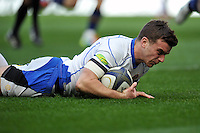 George Ford of Bath Rugby scores a try. European Rugby Champions Cup quarter final, between Leinster Rugby and Bath Rugby on April 4, 2015 at the Aviva Stadium in Dublin, Republic of Ireland. Photo by: Patrick Khachfe / Onside Images