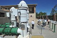 NWA Democrat-Gazette/MICHAEL WOODS &bull; @NWAMICHAELW<br /> Beaver Water District Board members take a look at the water intake pumps at the North intake facility on Beaver Lake Thursday September 17, 2015 during a tour of the facility.  The North facility was built in 2005, each pump is capable of 14 million gallons of water per day.