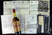 Pictured: One of the bottles of whisky dating back to almost 120 years which is auctioned off by Peter Francis Auctioneers in Carmarthen Wales.<br /> Re: Two bottles of Welsh whisky dating back almost 120 years could fetch &pound;3,000 each when they are put up for auction.<br /> The Welsh Whisky Distillery Company bottles are being auctioned online from Thursday until 5 December by Peter Francis Auctioneers in Carmarthen.<br /> The whisky was bought by a wine merchant in Fishguard, Pembrokeshire, in the 1960s for &pound;5 each.<br /> Auctioneer Charles Hampshire said: &quot;It's such a rare thing - the only other ones we know of are on display.&quot;<br /> The Welsh Whisky Distillery Company was founded in Frongoch, Bala, Gwynedd in 1889 but closed in the early 20th Century.<br /> The distillery became a World War One prison camp - and more famously, an internment camp after the Easter Rising in the Republic of Ireland.<br /> The bottles, dating back to about 1900, will go up in two separate lots, each with supporting paperwork.