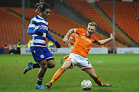Blackpool's Callum Guy vies for possession with Reading's Danny Loader<br /> <br /> Photographer Kevin Barnes/CameraSport<br /> <br /> Emirates FA Cup Third Round Replay - Blackpool v Reading - Tuesday 14th January 2020 - Bloomfield Road - Blackpool<br />  <br /> World Copyright © 2020 CameraSport. All rights reserved. 43 Linden Ave. Countesthorpe. Leicester. England. LE8 5PG - Tel: +44 (0) 116 277 4147 - admin@camerasport.com - www.camerasport.com