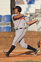 Danville Braves Alberto Odreman at Howard Johnson Field in Johnson City, Tennessee July 6, 2010.   Johnson City won the game 6-5.  Photo By Tony Farlow/Four Seam Images