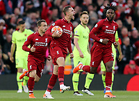 Liverpool's Jordan Henderson celebrates after Divock Origi scored the opening goal <br /> <br /> Photographer Rich Linley/CameraSport<br /> <br /> UEFA Champions League Semi-Final 2nd Leg - Liverpool v Barcelona - Tuesday May 7th 2019 - Anfield - Liverpool<br />  <br /> World Copyright © 2018 CameraSport. All rights reserved. 43 Linden Ave. Countesthorpe. Leicester. England. LE8 5PG - Tel: +44 (0) 116 277 4147 - admin@camerasport.com - www.camerasport.com