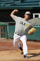 Jacksonville Suns pitcher Trevor Williams (43) throws a bullpen session prior to the game against the Pensacola Blue Wahoos at Bragan Field on the Baseball Grounds of Jacksonville on May 11, 2015 in Jacksonville, Florida. Jacksonville defeated Pensacola 5-4. (Robert Gurganus/Four Seam Images)