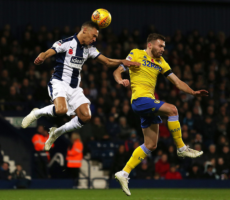 West Bromwich Albion's Kieran Gibbs heads away from Leeds United's Pontus Jansson<br /> <br /> Photographer David Shipman/CameraSport<br /> <br /> The EFL Sky Bet Championship - West Bromwich Albion v Leeds United - Saturday 10th November 2018 - The Hawthorns - West Bromwich<br /> <br /> World Copyright © 2018 CameraSport. All rights reserved. 43 Linden Ave. Countesthorpe. Leicester. England. LE8 5PG - Tel: +44 (0) 116 277 4147 - admin@camerasport.com - www.camerasport.com