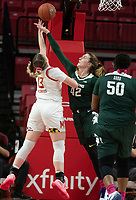 COLLEGE PARK, MD - FEBRUARY 03: Kayla Belles #42 of Michigan State defends against a shot by Faith Masonius #13 of Maryland during a game between Michigan State and Maryland at Xfinity Center on February 03, 2020 in College Park, Maryland.
