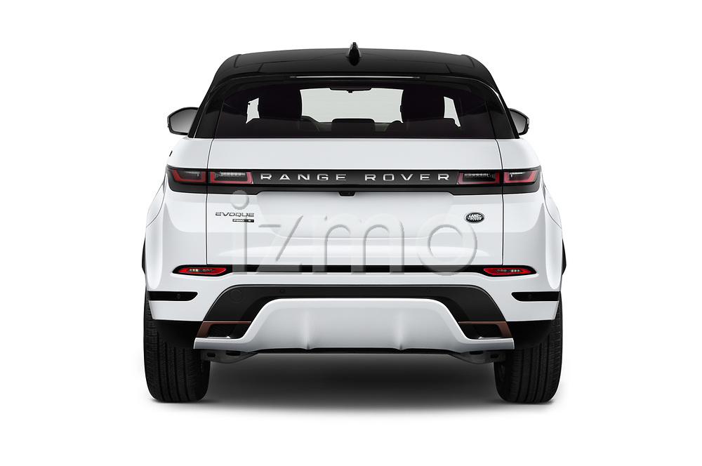Straight rear view of 2019 Land Rover Range-Rover-Evoque Dynamic 5 Door SUV Rear View  stock images