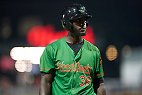 Down East Wood Ducks Sherten Apostel (38) during a Carolina League game against the Fayetteville Woodpeckers on August 13, 2019 at SEGRA Stadium in Fayetteville, North Carolina.  Fayetteville defeated Down East 5-3.  (Mike Janes/Four Seam Images)