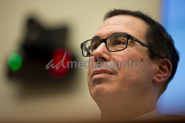 United States Secretary of the Treasury Steven T. Mnuchin testifies before the US House Financial Services Committee on Capitol Hill in Washington, DC on April 9, 2019 in response to US House Democrats' request to release US President Donald J. Trump's tax returns.<br /> Credit: Stefani Reynolds / CNP/AdMedia