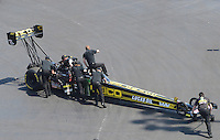 Apr. 14, 2012; Concord, NC, USA: NHRA top fuel dragster driver Morgan Lucas during qualifying for the Four Wide Nationals at zMax Dragway. Mandatory Credit: Mark J. Rebilas-