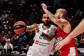 9th February 2018, Wiznik Centre, Madrid, Spain; Euroleague Basketball, Real Madrid versus Olympiacos Piraeus; Vassilis Spanoulis (OLYMPIACOS BC) breaks and gets around the defence of Jeffery Taylor (Real Madrid Baloncesto)