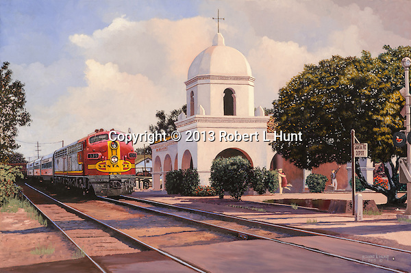 "Santa Fe Passenger train with warbonnet F unit diesels starts to depart the station in San Juan Capistrano, CA.  Oil on canvas, 18"" x 27""."