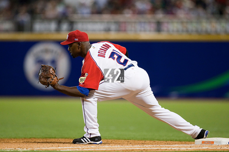 11 March 2009: #21 Carlos Delgado of Puerto Rico catches the ball at first base during the 2009 World Baseball Classic Pool D game 6 at Hiram Bithorn Stadium in San Juan, Puerto Rico. Puerto Rico wins 5-0 over the Netherlands