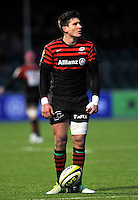 Hendon, England Nils Mordt © of Saracens prepares to kick a penalty during the LV= Cup match for the first professional rugby game on the artificial turf pitch made for rugby between Saracens and Cardiff Blues at Allianz Park Stadium on January 27, 2013 in Hendon, England.