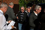 Supporters arriving at the turnstile up at the UTS Stadium before the FA Cup fourth qualifying round match between Dunston UTS and their local rivals Gateshead. Founded in 1975, the home team were formerly known as Dunston Federation. The visitors won 4-0 watched by a record crowd of 2,500.