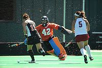 Stanford, CA - SEPTEMBER 27:  Goalkeeper Alessandra Moss #42 of the Stanford Cardinal during Stanford's 7-0 win against the Pacific Tigers on September 27, 2008 at the Varsity Field Hockey Turf in Stanford, California.