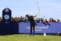 Webb Simpson (Team USA) on the 11th tee during Saturday Foursomes at the Ryder Cup, Le Golf National, Ile-de-France, France. 29/09/2018.<br /> Picture Thos Caffrey / Golffile.ie<br /> <br /> All photo usage must carry mandatory copyright credit (© Golffile | Thos Caffrey)