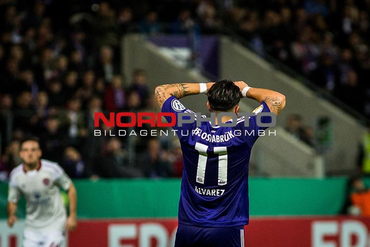 25.10.2017, Stadion an der Bremer Br&uuml;cke , Osnabr&uuml;ck, GER, DFB Pokal, Runde 2, VfL Osnabr&uuml;ck vs 1. FC N&uuml;rnberg<br /> , <br /> <br /> im Bild | pictures shows:<br /> Marcos Alvarez (VfL Osnabrueck #11) ist entt&auml;uscht, <br /> <br /> Foto &copy; nordphoto / Rauch