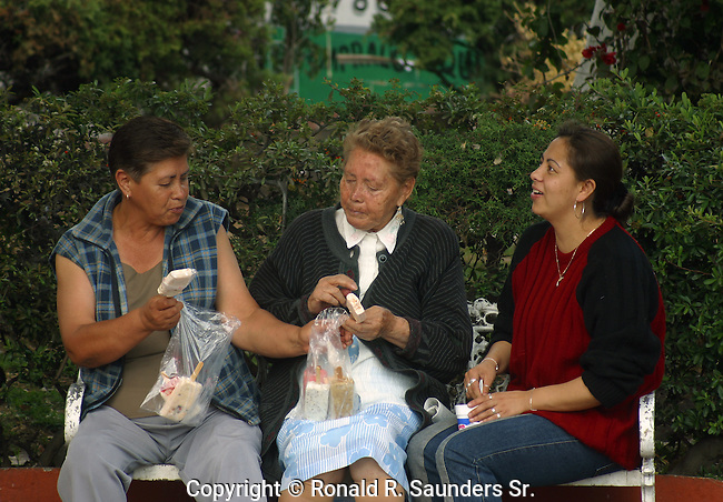 OLD FRIENDS: Women sit on park bench sharing ice pops